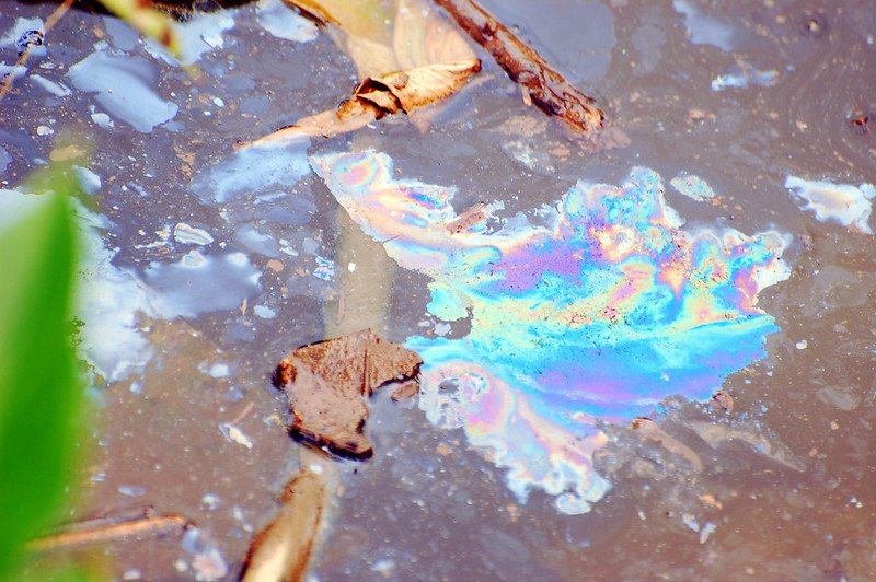 Oil pollution in water