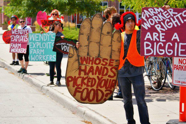 People demonstrate in support of farmworker rights
