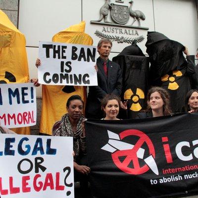 ICAN protestors outside Australia's permanent mission to the UN at Geneva