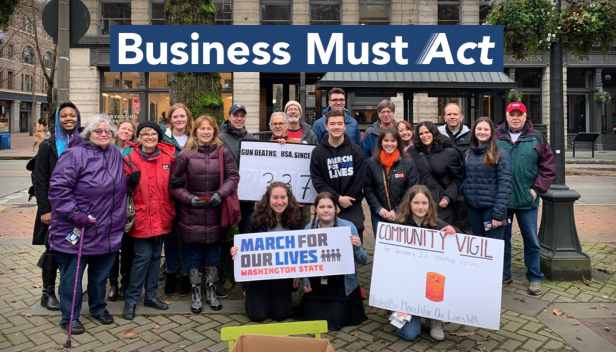 Group of people demonstrating in support of gun safety in the United States