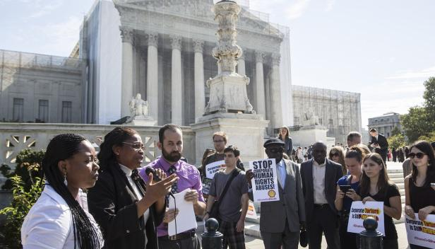 EarthRights International protest and press conference outside the U.S. Supreme Court during arguments in the Kiobel v. Shell case in 2012.Credit-Flickr