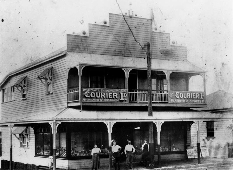 William Mitchell's newsagency in Ipswich Road, Annerley, Brisbane, 1922 Mitchell's Newsagents at the corner of Dudley Street and Ipswich Road in Annerley