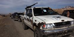 Private Afghan security company car armed with machine gun