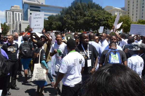 Protesters at the African Mining Indaba