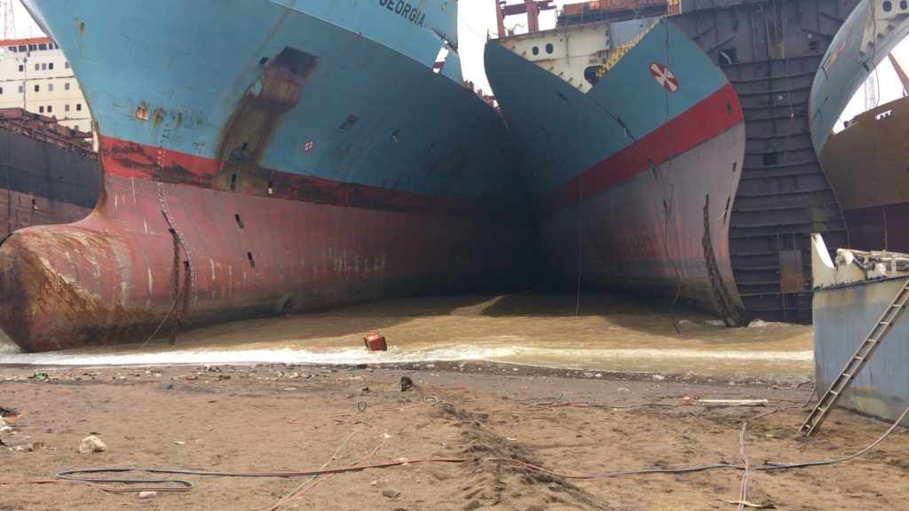 Maersk Georgia and Maersk Wyoming are beached by the Shree Ram yard in Alang, where they are wedged in between other end-of-life vessels in the intertidal zone. Photo: S. Rahman.