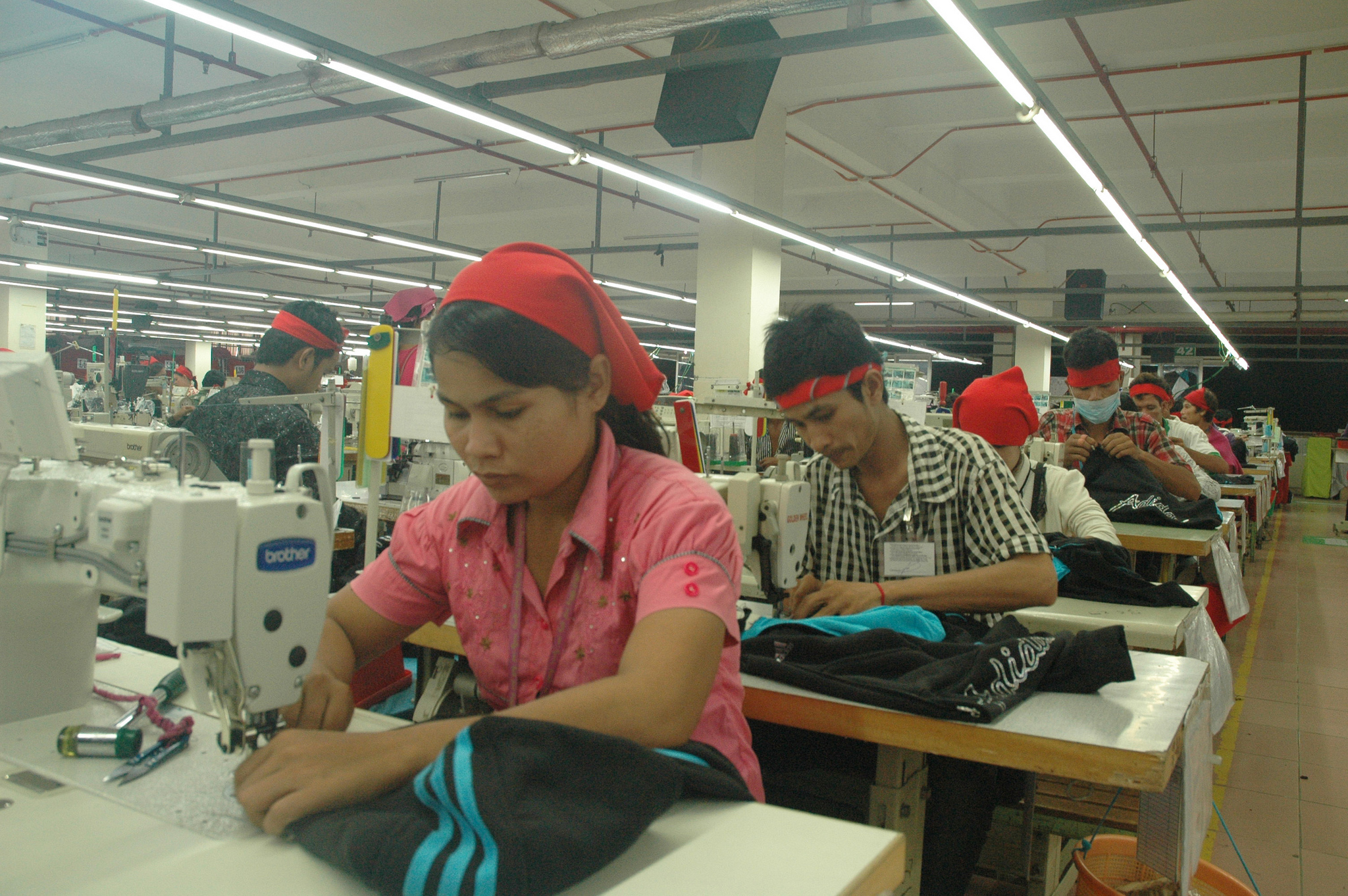 Woman garment worker in a Cambodian factory