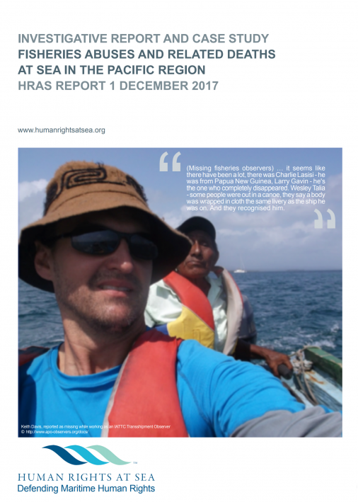 Screenshot of 'Fisheries Abuses and Related Deaths at Sea in the Pacific Region' front page.
