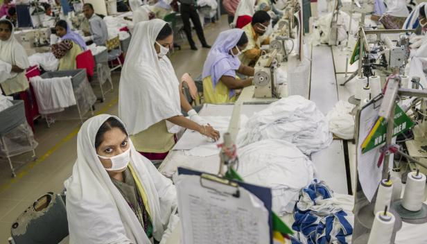 Roksana Khatun, a sewing operator at the Viyellatex garment factory, Gazipura, Bangladesh