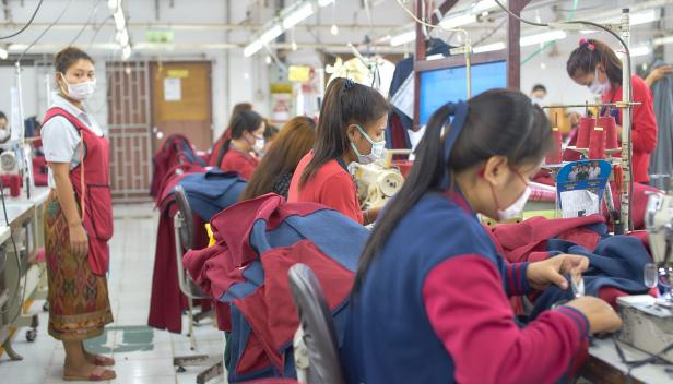 Garment factory workers in Lao PDR